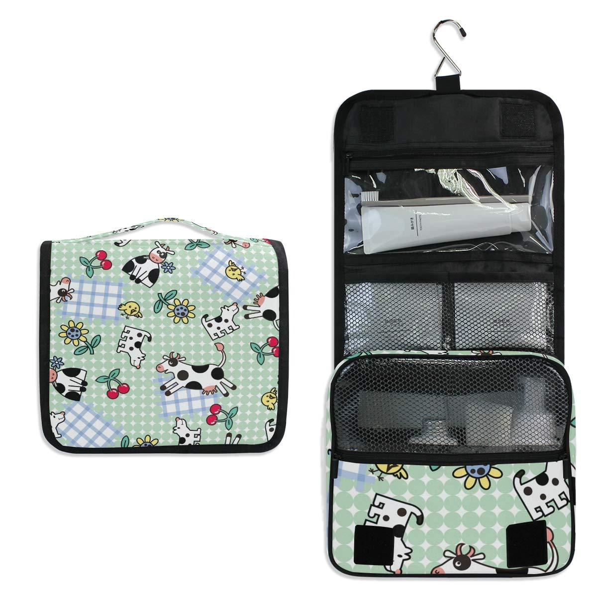 Cartoon Milk Cow Hanging Foldable Toiletry Cosmetic Makeup Bag Travel Kit Organizer Storage Wash Bags Case for Women Girls Bathroom