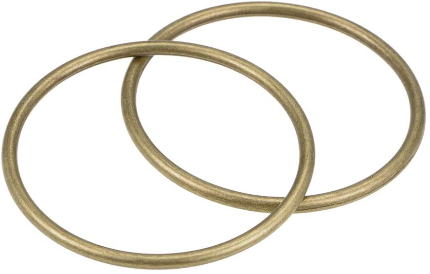 uxcell O Ring Buckle 50mm(2) ID 3mm Thick Zinc Alloy O-Rings for Hardware Bags Belts Craft DIY Accessories, Bronze Tone 2pcs
