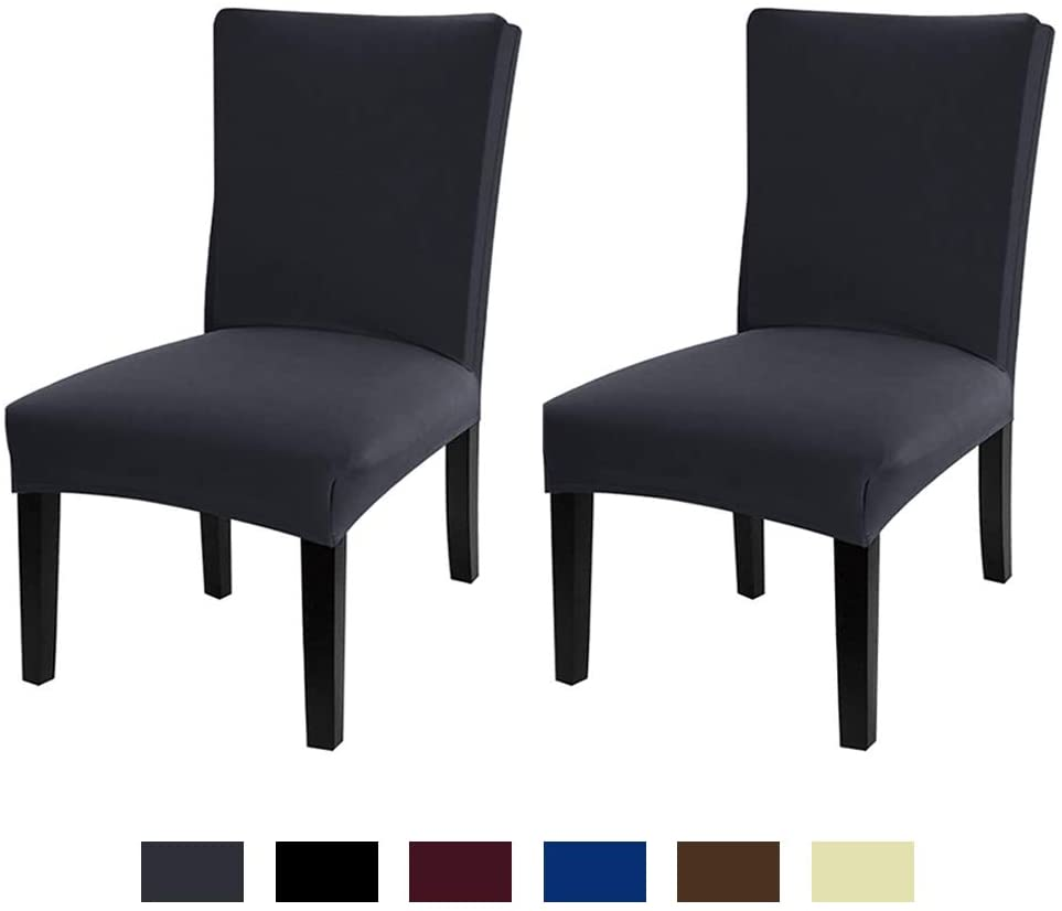 JML Dining Chair Cover, Super Stretch Fit Removable Washable Short Dining Chair Seat Slipcover for Hotel, Dining Room,Ceremony, Banquet Wedding Party (Dark Grey, 2 Pack)