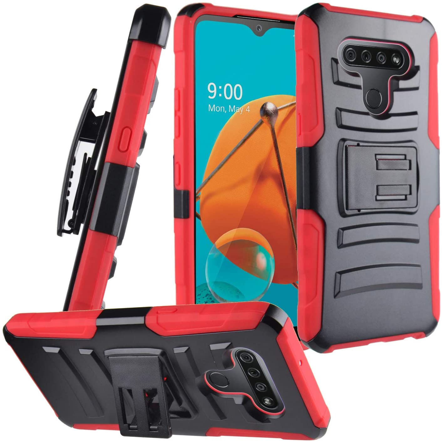 CELZEN - for LG K51, LG Reflect (LM-K500) - Hybrid Phone Case w/Stand/Belt Clip Holster - CV1 Red