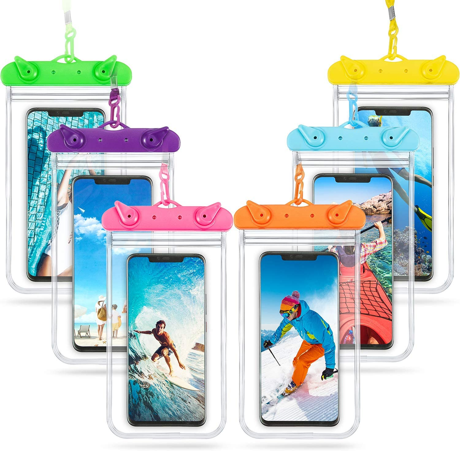 6 Universal Waterproof Phone Pouch Bag Underwater Case Clear Cellphone Dry Bag with Lanyard Swimming Snorkeling Water Sport Bag for Smartphone 6.9 Inch (Orange, Green, Purple, Aqua Blue, Yellow, Pink)