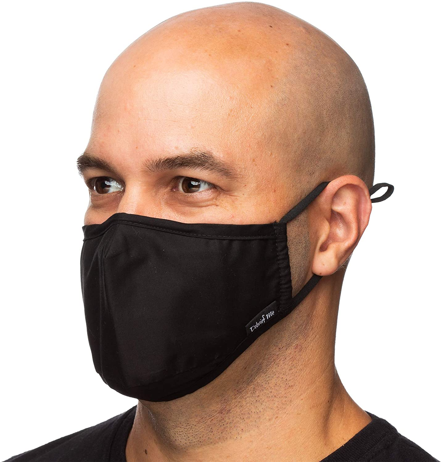 Debrief Me Nose bridge helps prevent slipping Carbon Activated Replaceable Filters Mouth Cover Reusable Comfy Cotton Adjustable Straps Airplane with 2 Extra Filters (Black)