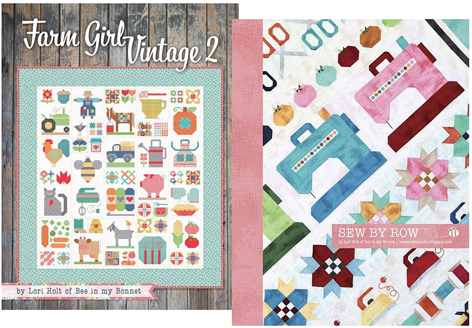 Best Sellers Quilt Pattern Bundle: Farm Girl Vintage 2 Book and Sew by Row by Lori Holt