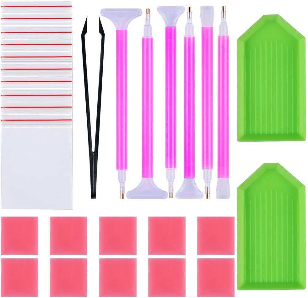 Petift 29pcs DIY Diamond Painting Tools Kits Accessories Cross Stitch Fit,Embroidery Point Pens,Diamond Art Tool Sets Including Diamond Stitch Pens, Tweezer,Glue,Plastic Trays,for Adults Art Craft