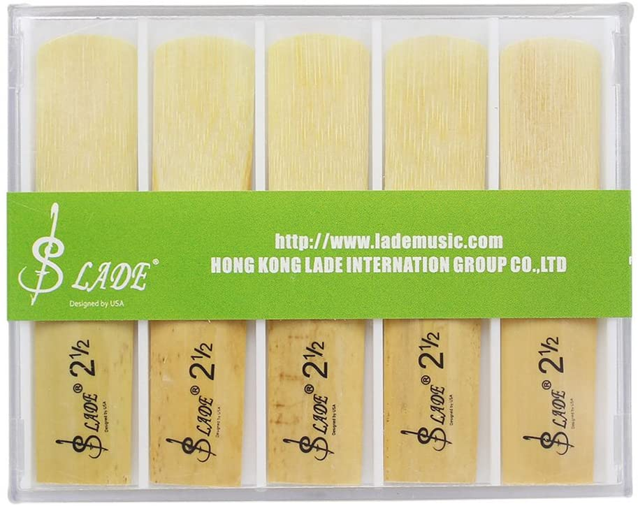 Dilwe Saxophone Reeds, Strength 2.5 Alto Saxophone Sax Bamboo Reeds with Plastic Case, Pack of 10