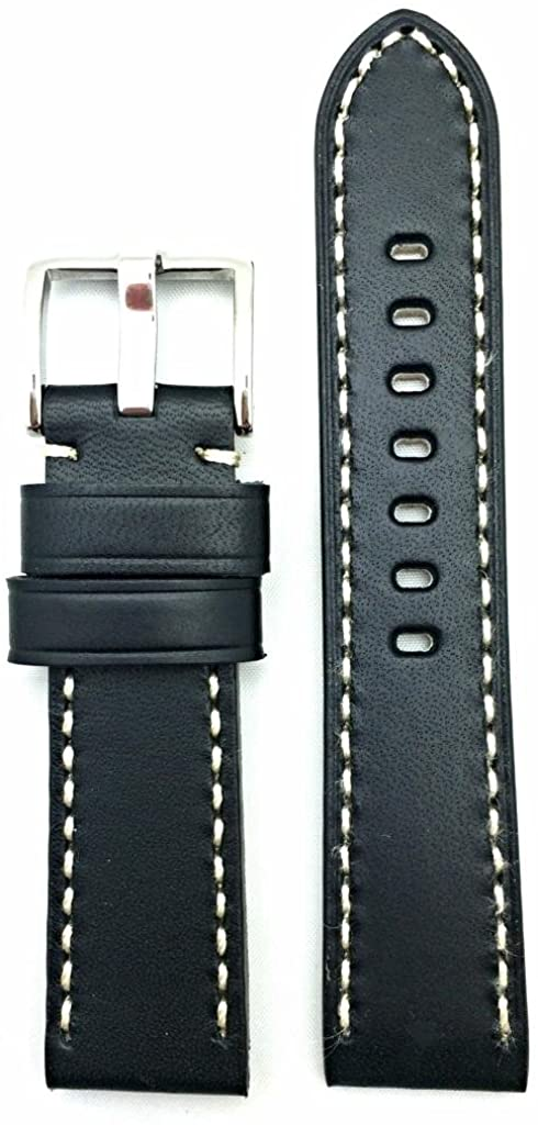 22mm Black Panerai Style Genuine Leather Watch Band | Smooth, Solid, Thick Padded Replacement Wrist Strap Bracelet with Creamy White Stitches That Brings New Life to Any Watch (Mens Standard Length)