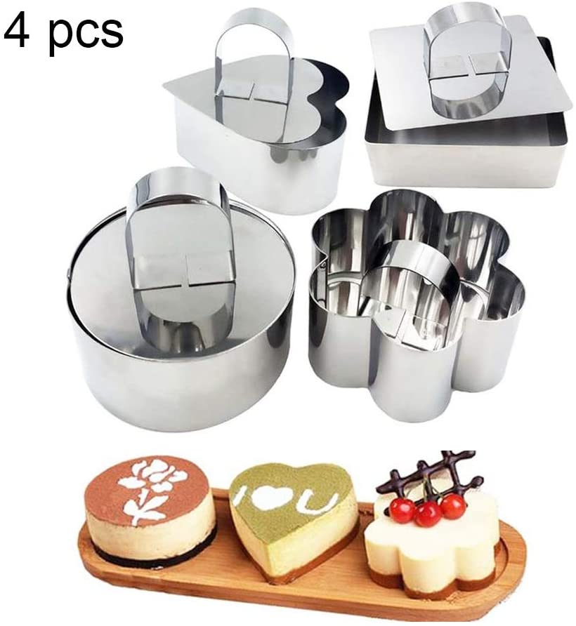 Stainless Steel Mousse Ring Set of 4, Mini Fondant Cheese Cake Mold Baking Pastry Rings with Pusher,Cupcake Mold Salad Dessert Mold Cake Decorating Tools