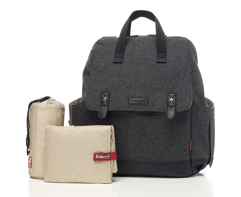 Babymel Robyn Convertible Backpack Diaper Bag, Tweed Grey