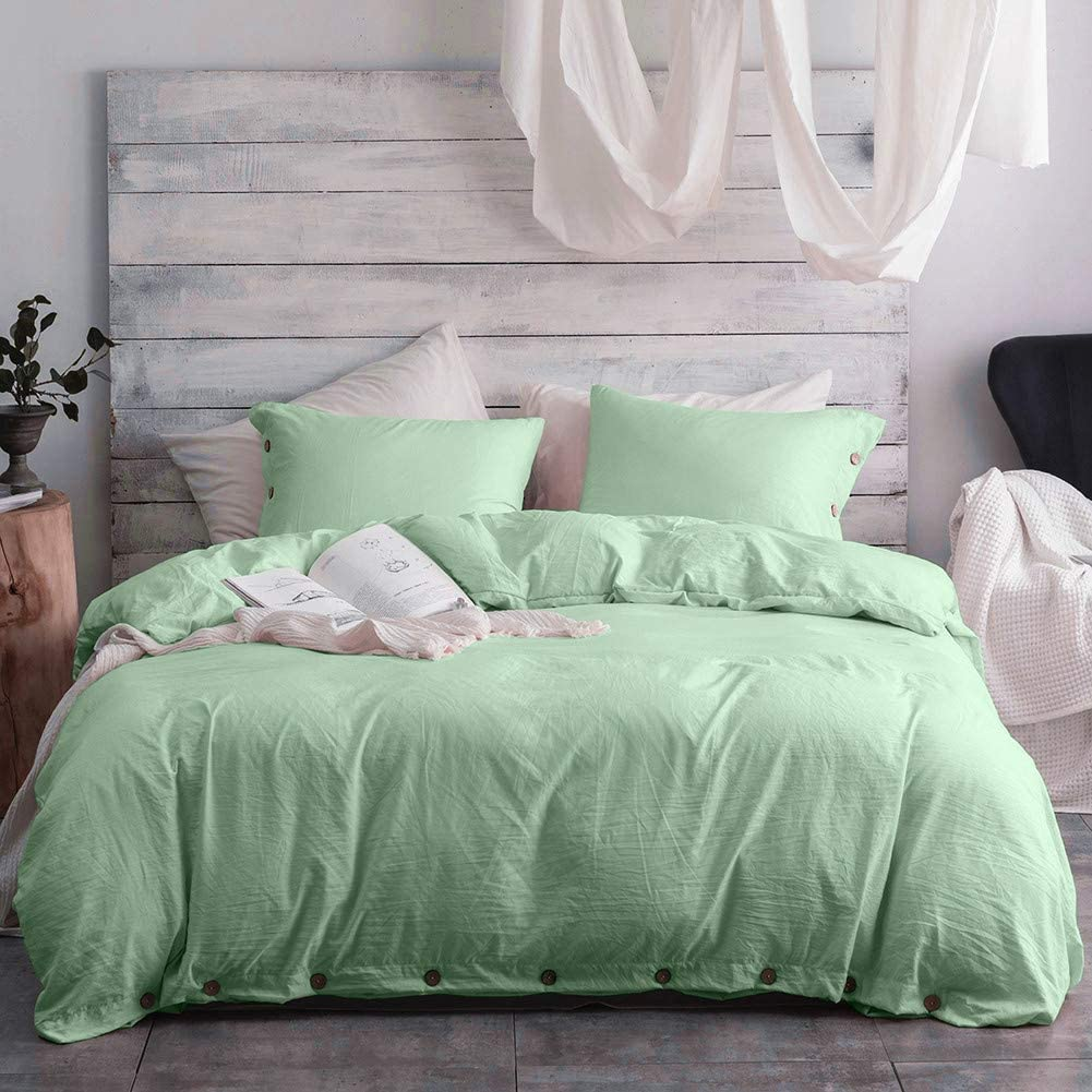 Argstar 3 Pcs 100% Microfiber King Size Duvet Cover with Buttons, Washed Cotton Effect, Dark Sea Green