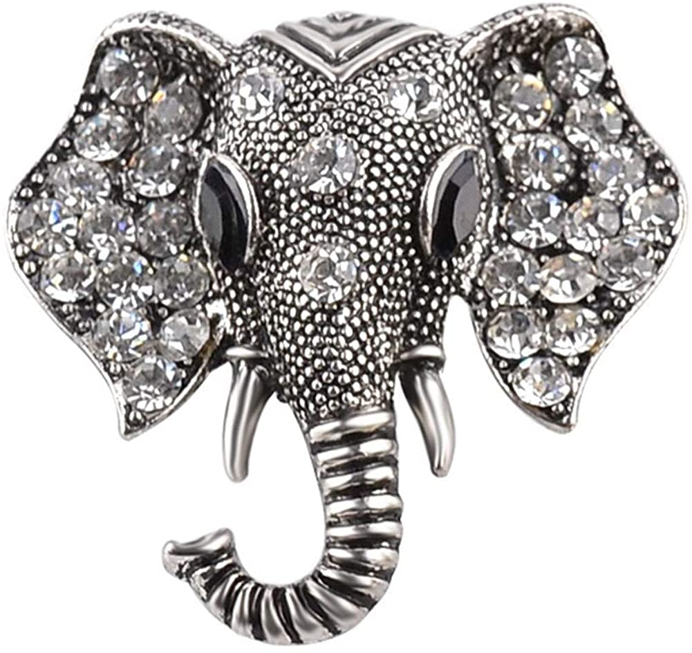 AILUOR Retro Elephant Brooch Pins, Fashion Crystal Rhinestone Animal Elephant Head Lapel Pin Suit Corsage Accessories Jewelry Unisex