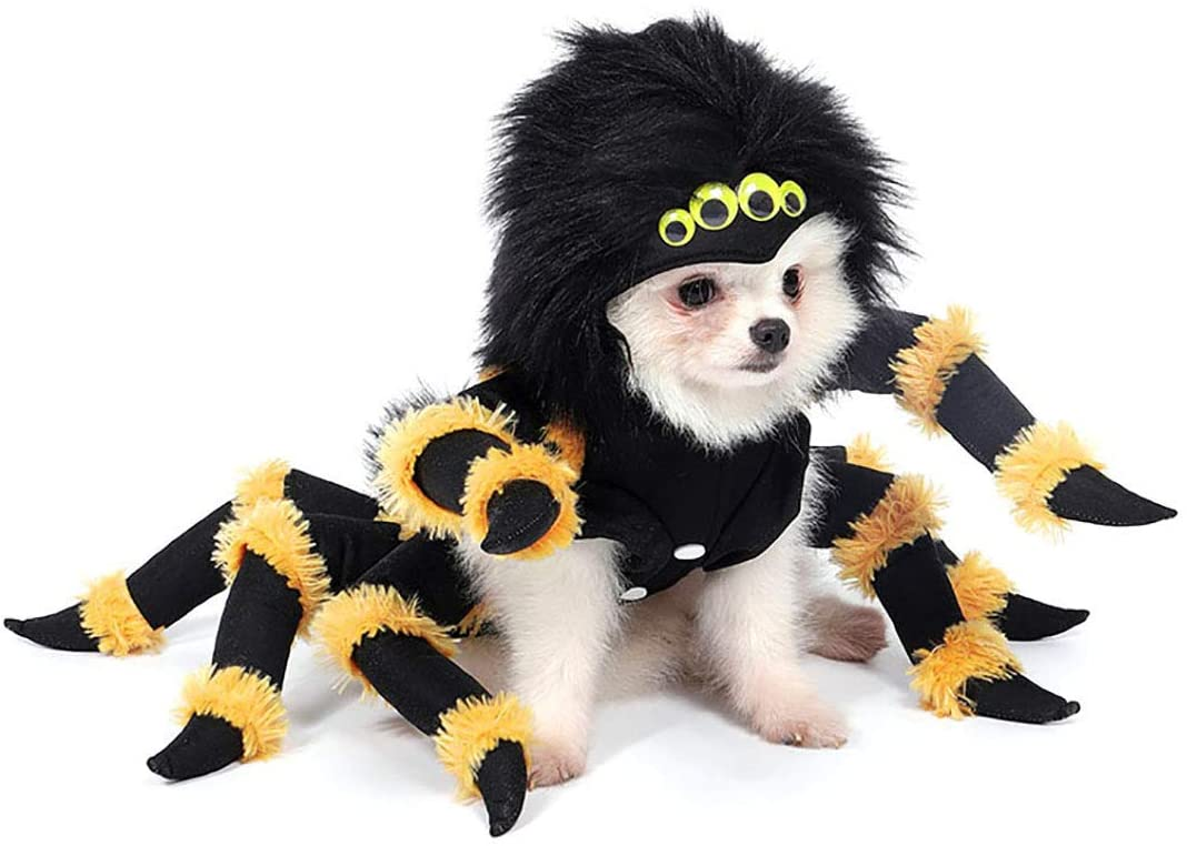 Yoption Dog Spider Costumes, Funny Pet Halloween Christmas Cosplay Dress Outwear Coat Apparel Hoodie