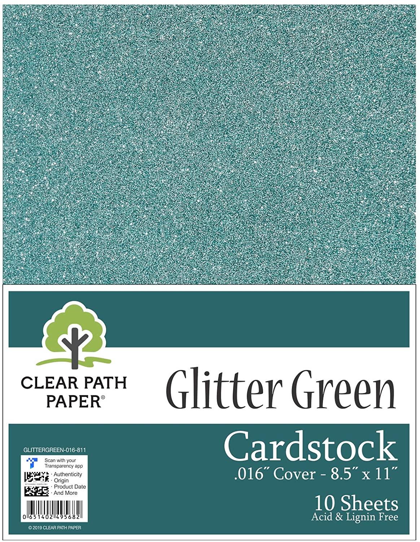 Glitter Green Cardstock - 8.5 x 11 inch - .016