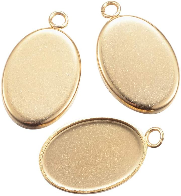 UNICRAFTALE About 100pcs 14x10mm Tray Stainless Steel Pendant Cabochon Settings Plain Edge Bezel Cups Oval Shaped Findings Golden Color Charms for DIY Jewelry Making 17.5x11x1.5mm, Hole 2mm