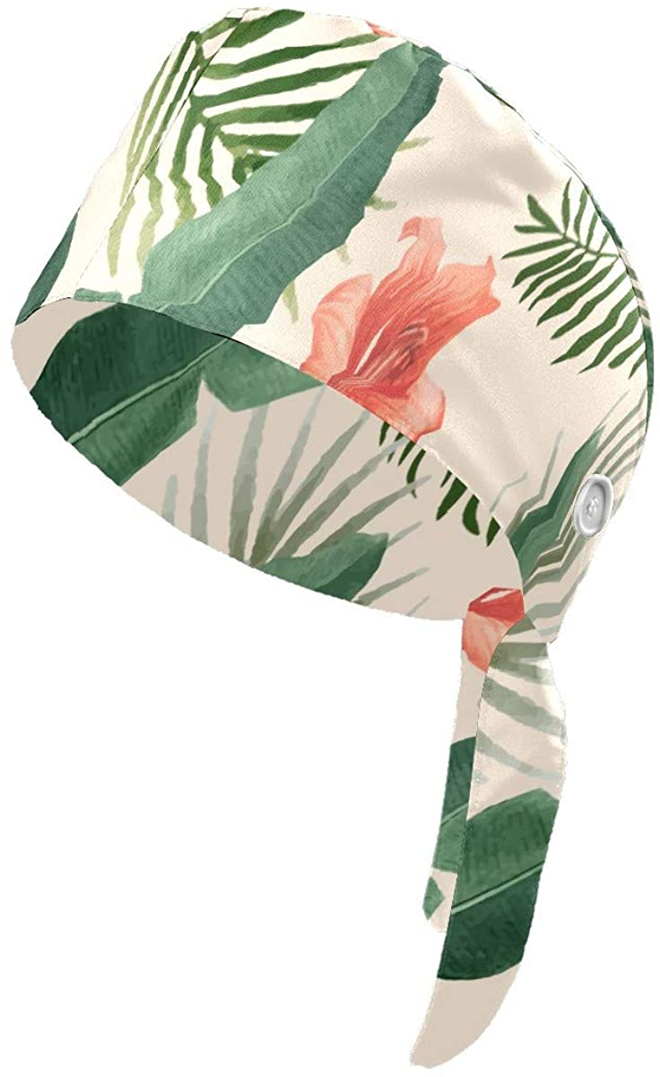 SIMONO Tropical Foliage Lllustration Print Work Hat with Buttons and Sweat-Absorbent Towel Cloth,Adjustable Straps,Suitable for Ladies and Men
