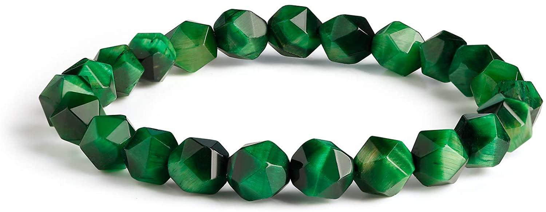 qanyue Natural Gemstone Bracelet for Women Men Beaded Stretch Bracelet 10mm/12mm Round Beads Meditation Healing Power Stone