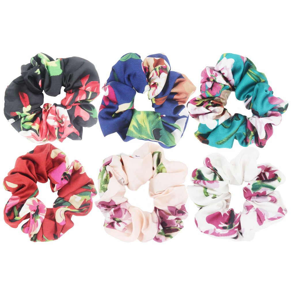 6pcs Country Small Floral Chiffon Fabric Hair Scrunchies (roses flower mix)
