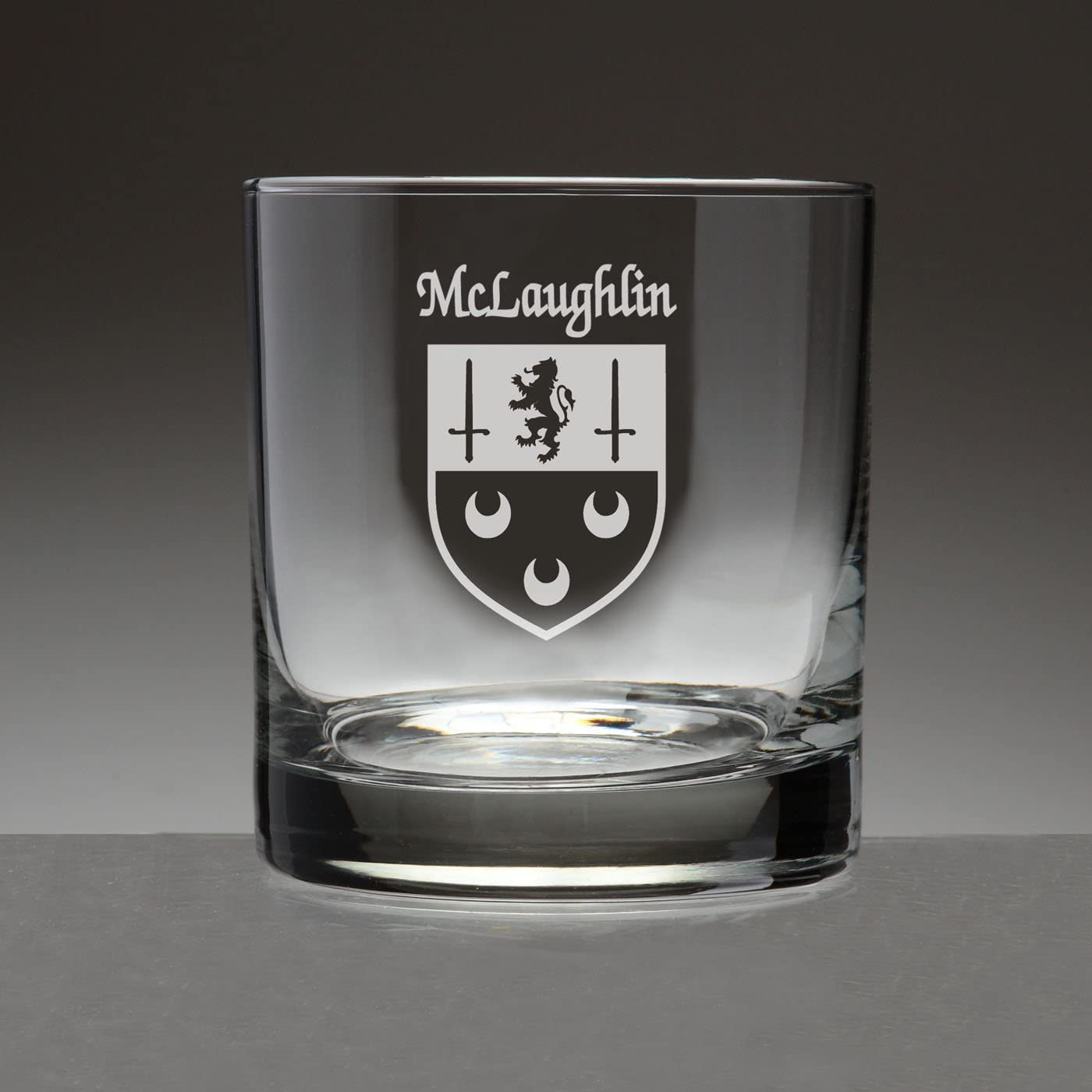 McLaughlin Irish Coat of Arms Tumbler Glasses - Set of 4 (Sand Etched)