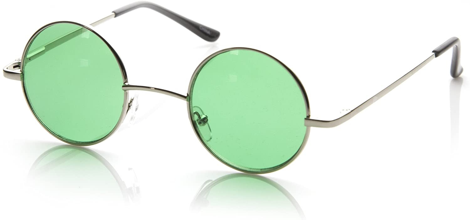 Hipster Fashion Small Metal Round Circle Ozzy Elton Color Tint Lennon Style Sunglasses