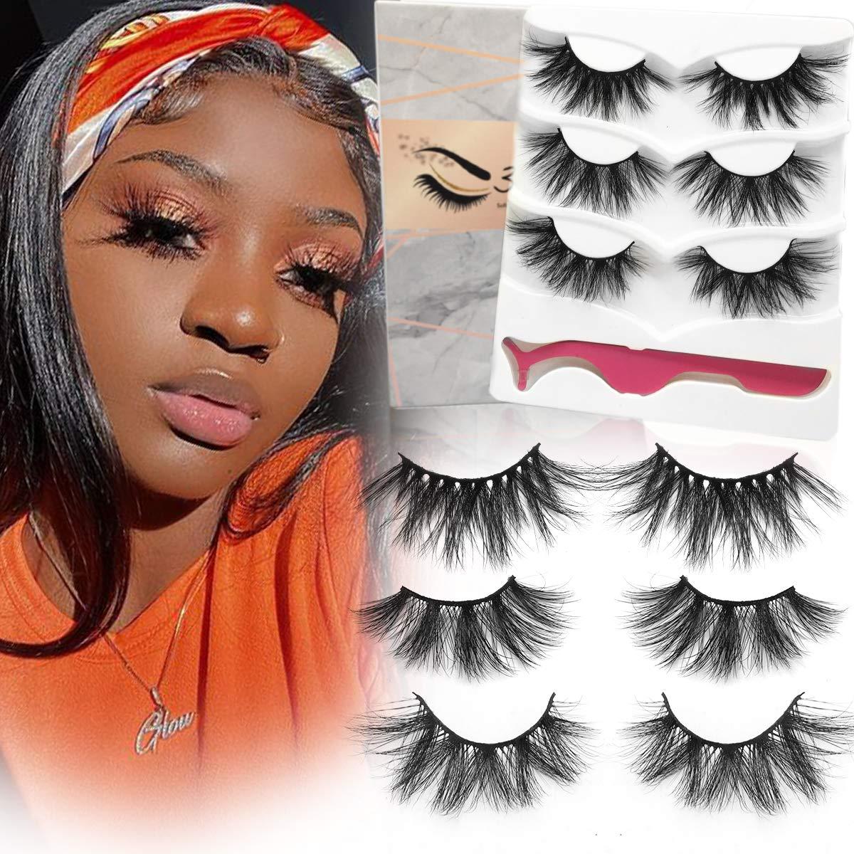 Mink Lashes, 20mm to 25mm Fake Eyelashes, 3 Styles 3 Pairs Pack, Long and Dramatic False Eyelashes for Makeup, Full Strip Fluffy 3D Mink Eyelashes, Handmade Eye Lashes, hotbanana