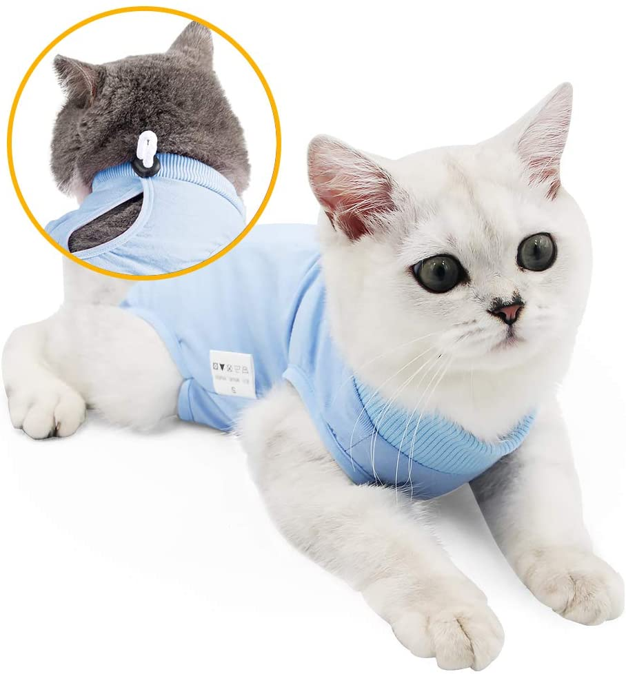 oUUoNNo Cat Wound Surgery Recovery Suit for Abdominal Wounds or Skin Diseases, After Surgery Wear, Pajama Suit, E-Collar Alternative for Cats and Dogs