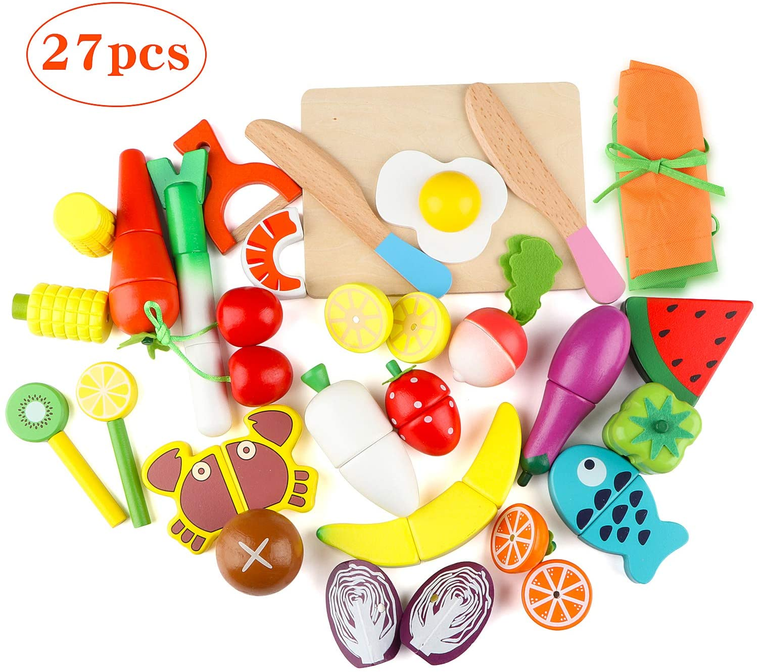 Joqutoys 27 PCS Wooden Cutting Fruit Vegetables Set for Kids, Pretend Play Food Toy Set with Wooden Knife and Tray, Magnetic Play Kitchen Kits Educational Game for Boys Girls Gifts