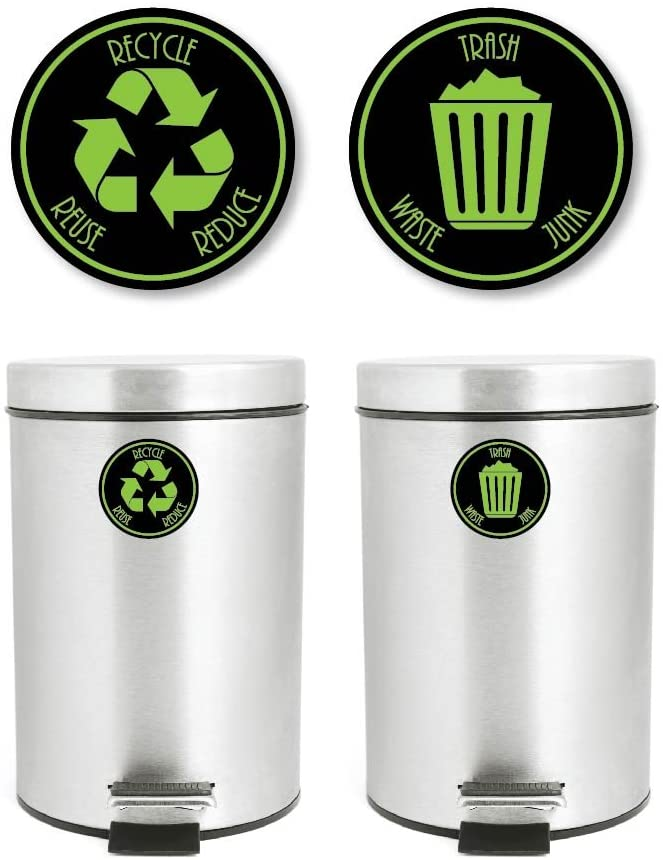 Yoonek Graphics Recycle and Trash Decal Sticker for Trash cans for Personal Home or Business use # 953 (4
