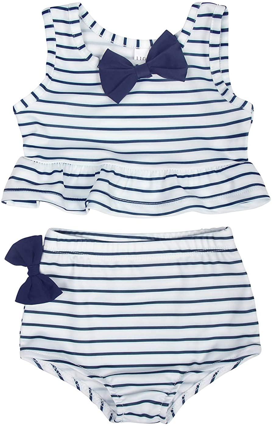 Jurebecia Baby Girl Bikini Striped Beach Swimsuit Ruffles Bathing Suit Adjustable Swimwear 2 Pieces Set 0-4 Years