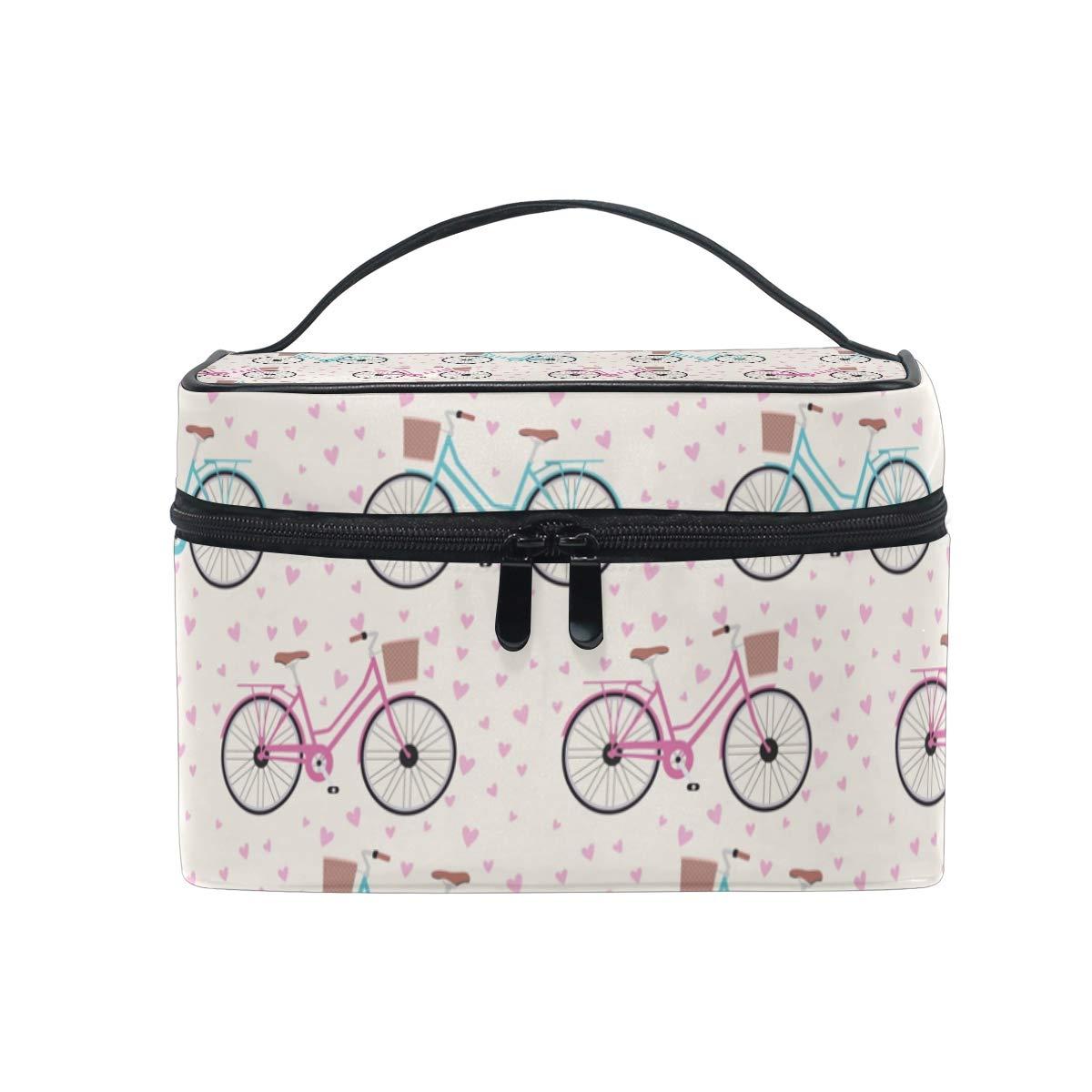 Large Travel Makeup Train Case Cute Heart Bicycle Romantic Carrying Portable Zip Cosmetic Brush Bag Makeup Bag Organizer for Girls Women