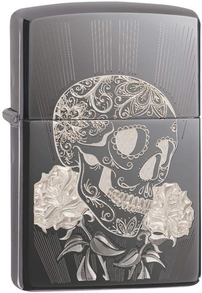 Custom Personalized Zippo High Polish Fancy Skull Design Windproof Lighter Free Engraving #29883