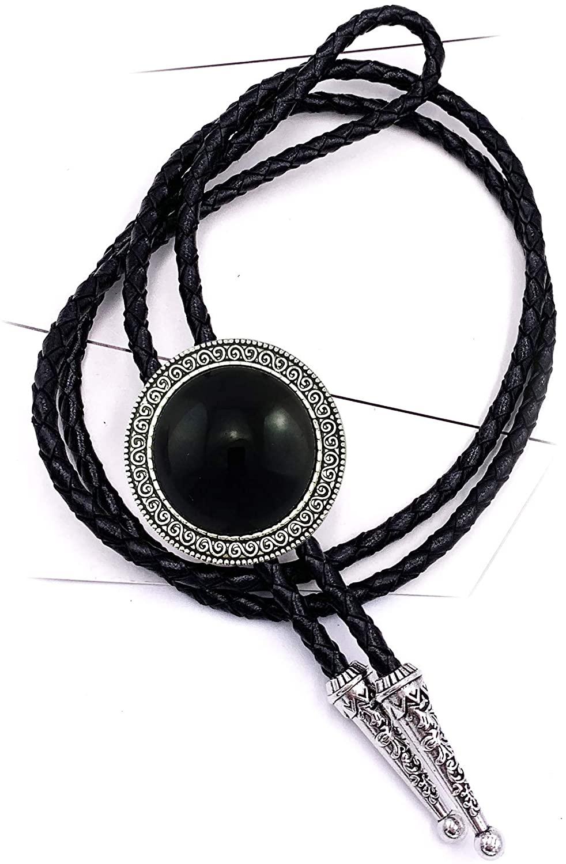 Lanxy Retro Novelty Western Cowboy Celtic Black Stone Bolo Tie Necktie For Men