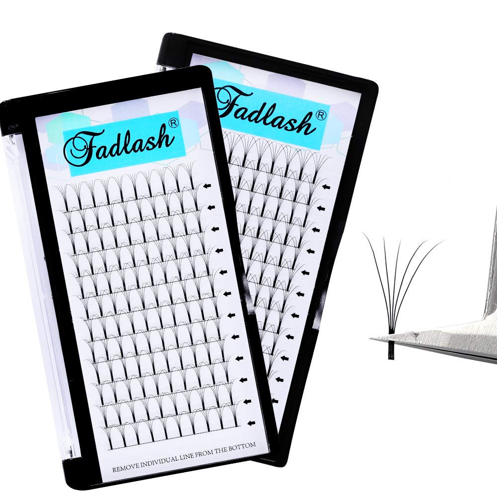 Lash Extensions 2Trays Premade Fans 5D 14mm+16mm Volume Lash Extensions Lash Fans 0.10 D Curl Long Stem Volume Fans Eyelash Extensions Supplies (5D-0.10-D, 14+16mm)