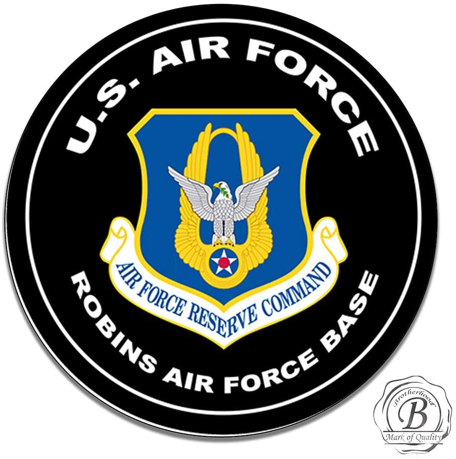 United States Air Force Reserve Command Air Forces Robins Air Force Base Military Emblem Seal Vintage Signs Reproduction Vintage Style Metal Signs Round Metal Tin Aluminum Sign Garage Home Decor