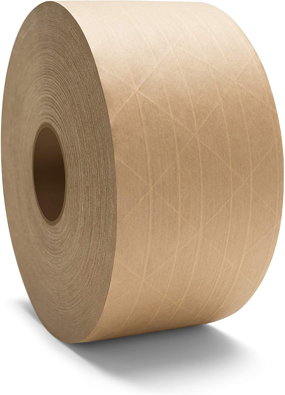 Gummed Packing Tape, Paper Tape Roll, 72mm x 450 Yards, Kraft Tan, 10 Pack