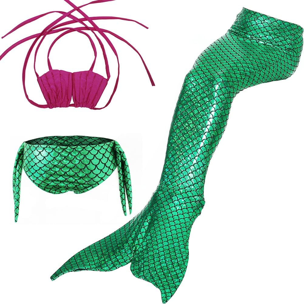 Mermaid Swimming Suit, Girls 3pcs Swimwear Top Panties Mermaid Tail Swiming Costume Monofin Flippers Swimsuit