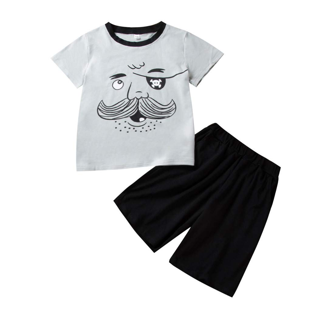 Baby Top & Pants Set, Toddler Kids Baby Boys Cartoon Print T-Shirt Tops+Solid Shorts Clothes Set, Baby Clothes Onsale Black 8-9 T