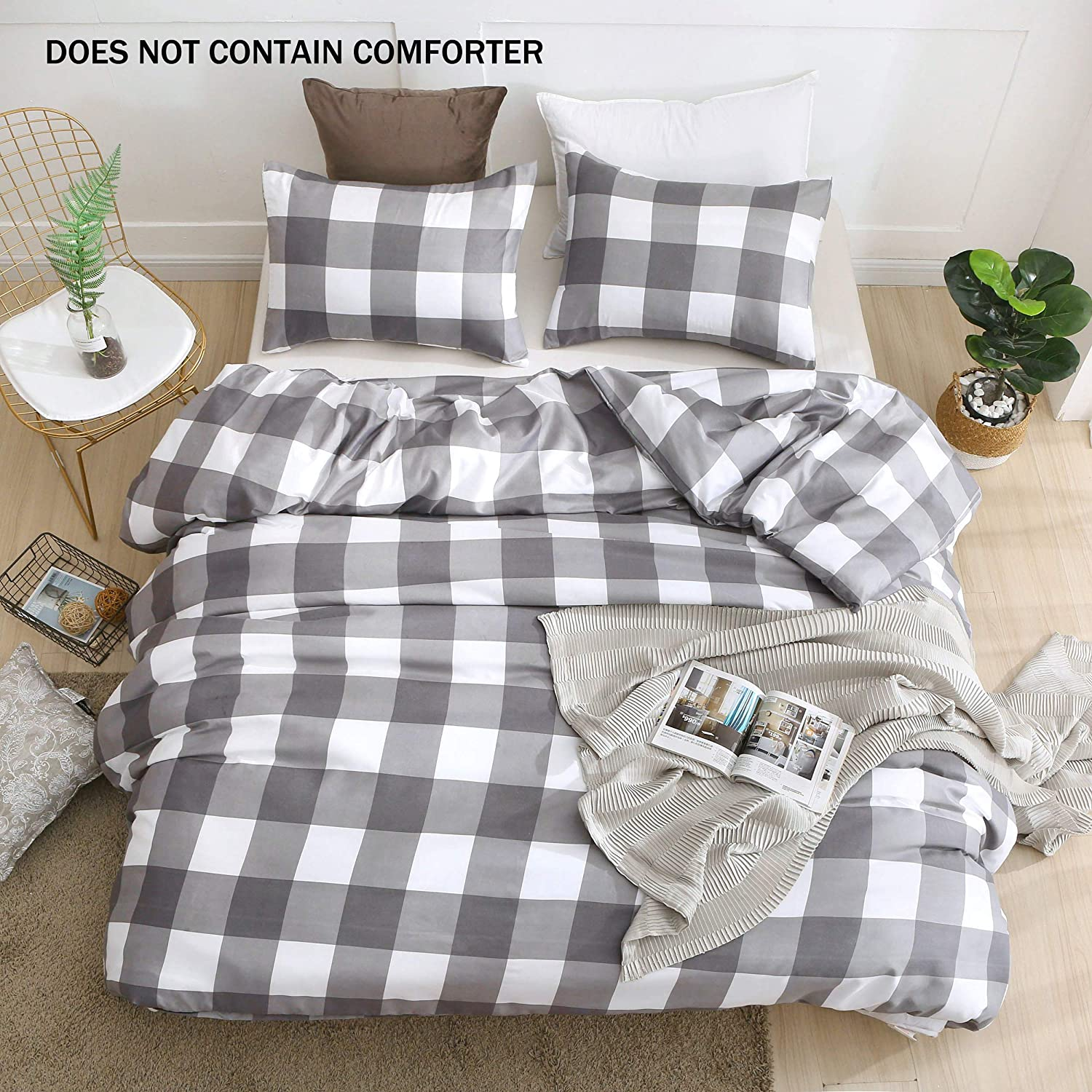 LSSAWZH QYsong Grey and White Plaid Duvet Cover Queen (90x90 Inch), 3pc Include 1 Gird Geometric Checker Pattern Printed Duvet Cover Zipper Closure and 2 Pillowcase, Bedding Set for Men and Women