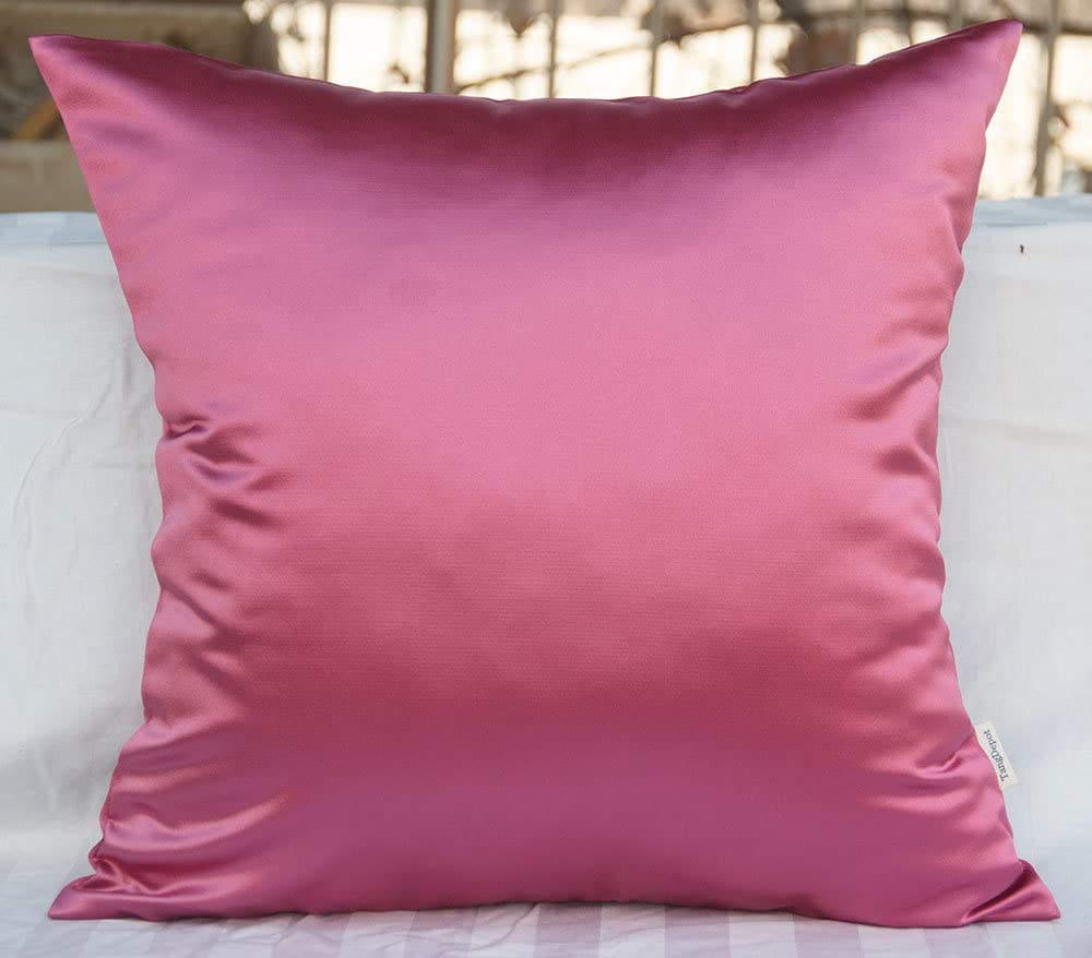 TangDepot Solid Heavy Satin Decorative Throw Pillow Cover, Euro Pillow Shams, European Throw Pillow Covers, Indoor/Outdoor Cushion Covers - (28
