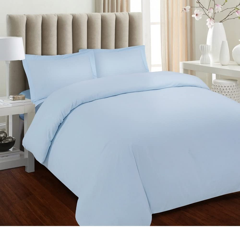 Tula Linen 700 Thread Count 100% Egyptian Cotton 1pc Duvet Cover Luxury Soft, All Sizes & Colors, Full/Double-Light Blue