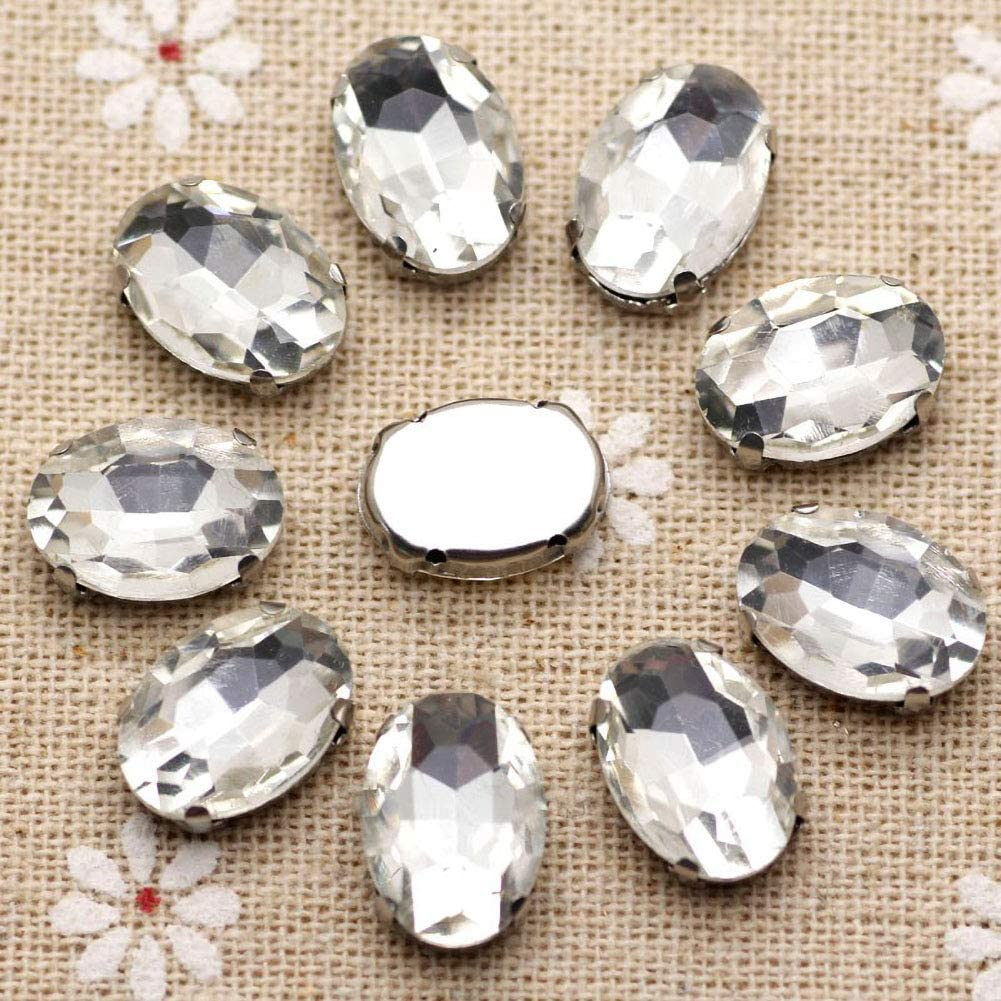 Clear Rhinestones Oval Sew On Rhinestone 50pcs 10x14mm Flatback Rhinestones with Silver Prongs for Crafts Clothes Dresses Shoes Jewelry Making