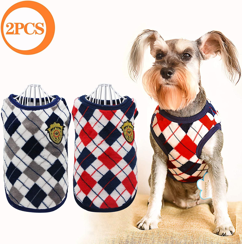 YAODHAOD Cat Dog Flannel Winter Clothes, Diamond Plaid Cat Dog Sweater Coat, Dog Soft Sweatshirt,Dog Apparel