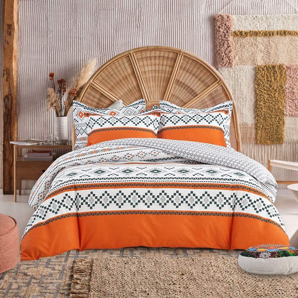 FlySheep 3 Piece Queen Boho Orange Duvet Cover Set - 1 Duvet Cover & 2 Pillow Shams, Colorful Bohemian Style, Hypoallergenic Hotel Quality - Boho Orange