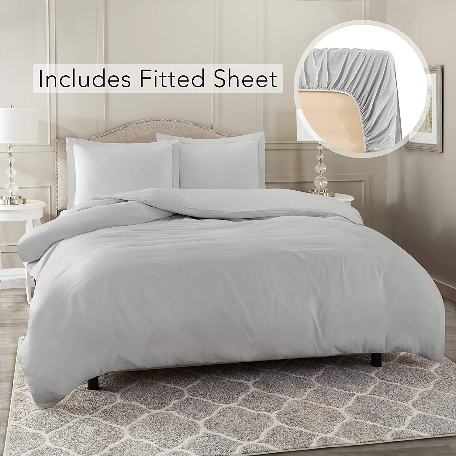 Nestl Bedding Duvet Cover with Fitted Sheet 4 Piece Set - Soft Double Brushed Microfiber Hotel Collection - Comforter Cover with Button Closure, Fitted Sheet, 2 Pillow Shams, King - Silver
