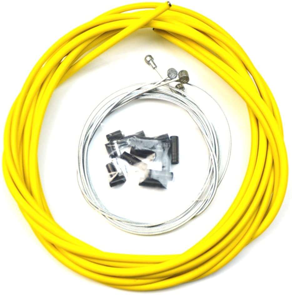 WINOMO Bike Bicycle Brake Cable and Housing Set Stainless Steel universal Brake Cable (Yellow)