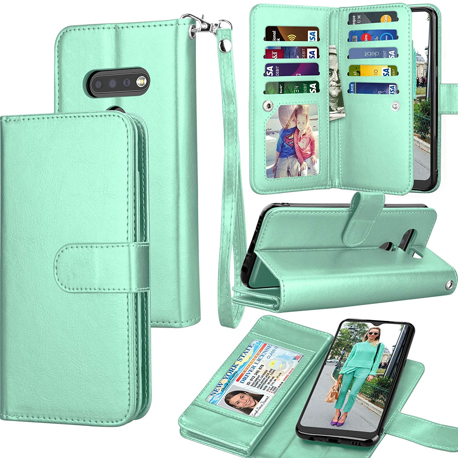 Tekcoo LG K51 Case, 2020 LG Q51 / LG Reflect / K51 Wallet Case, Luxury PU Leather ID Cash Credit Card Slots Holder Carrying Pouch Folio Flip Cover [Detachable Magnetic Hard Cases] Lanyard - Turquoise