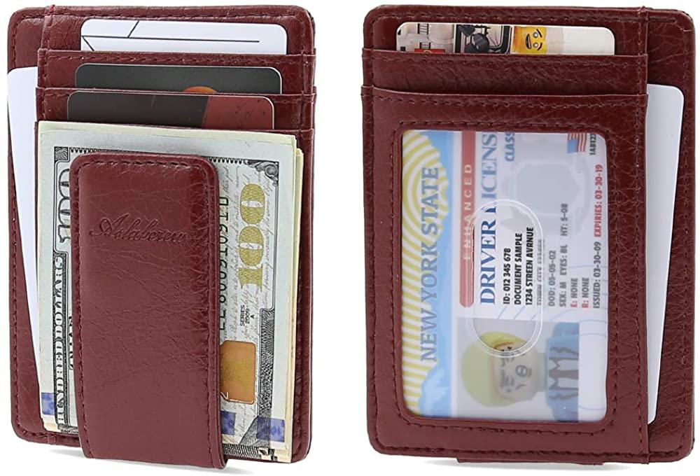 AslabCrew Genuine Leather Magnetic Money Clip Slim Wallets, RFID Blocking