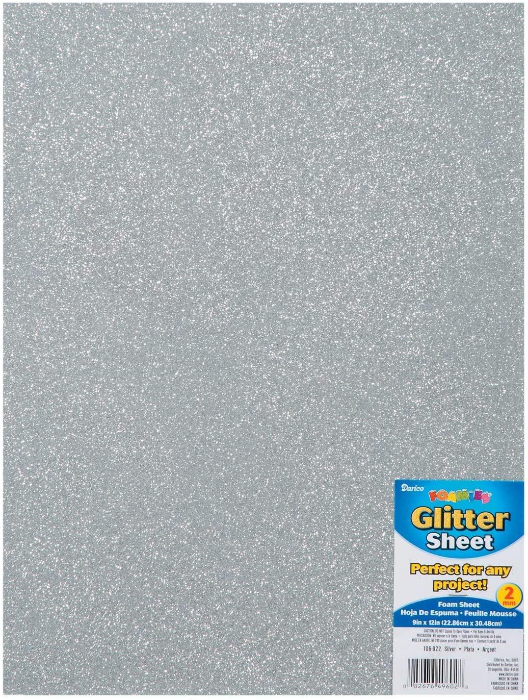 Darice Foamies Glitter Foam Sheet Silver 2mm Thick 9 x 12 inches (3-Pack) 106-922