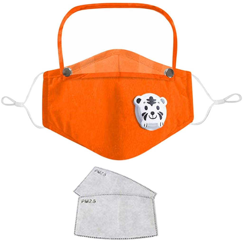 Inforin Print Kids Face Bandanas Washable Reusable with Filter and Detachable Eye Shield + 2PC Filters