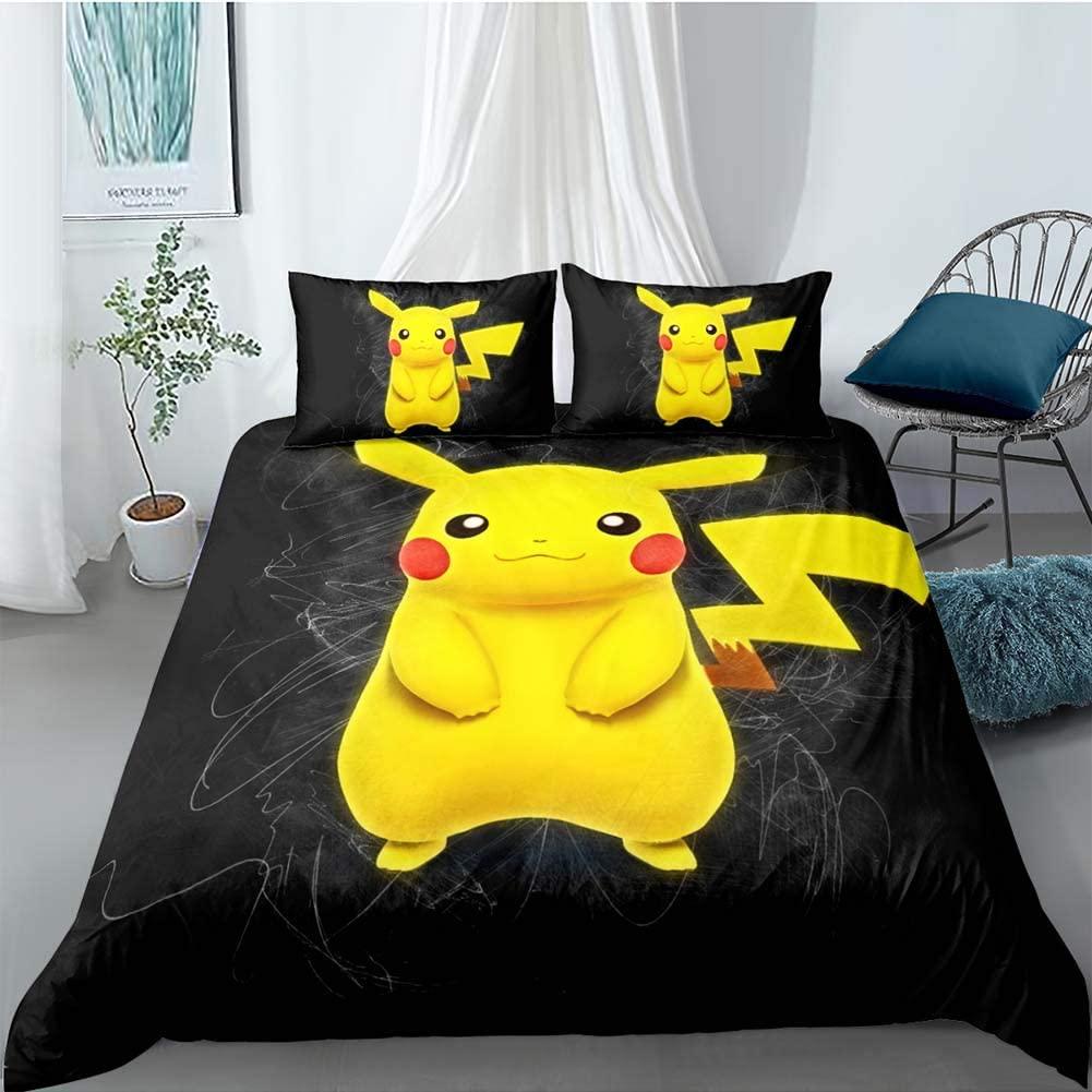 BGHN 3 Piece Pikachu Duvet Cover Set Kids Bedding for Kids, 1 Duvet Cover + 2 Pillowcase, Full Size