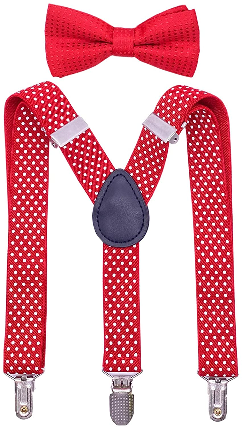 JTCMOJS Polka Dot Boys Suspenders and Bow Tie Set Kids Adjustable Y Back 3 Clips