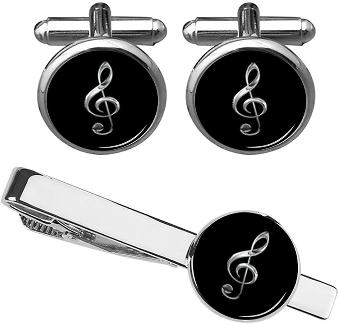ZUNON Treble Cufflinks & Tie Clip Music Note Music Instrument Musician Arts Gift for Men Husband Fiancee